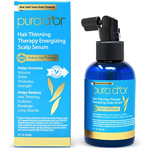PURA D'OR Hair Thinning Therapy Energizing Scalp Serum Revitalizer (4oz)...