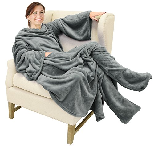 Catalonia Wearable Fleece Blanket with Sleeves and Foot Pockets for Adult...