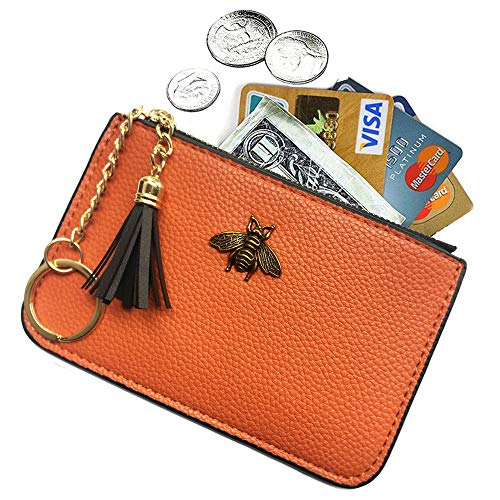 AnnabelZ Women's Coin Purse Change Wallet Pouch Leather Card Holder with...
