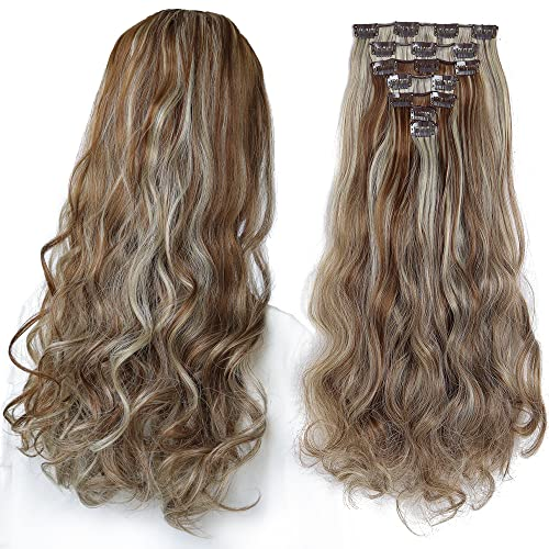 SYXLCYGG Hair Extensions Blonde ,Clip In Hair Extension 18' Wavy Fluffy and...