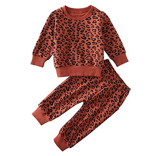 Toddler Baby Girls Leopard Print Clothes Set Long Sleeve T-Shirt Tops and...