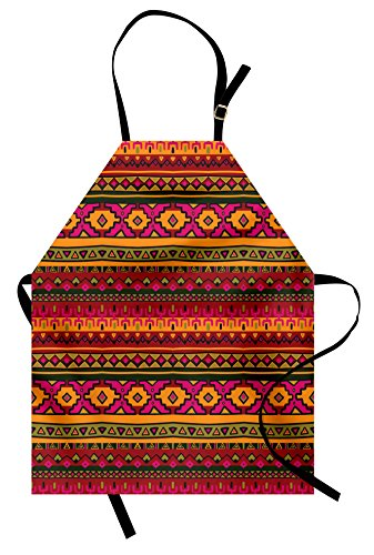 Lunarable Aztec Apron, South American Abstract Borders Mexican Peruvian...
