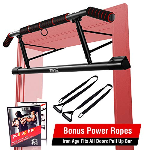 IRON AGE Pull Up Bar for Doorway - Angled Grip Home Gym Exercise Equipment...
