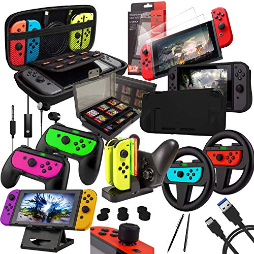 Switch Accessories Bundle - Orzly Geek Pack for Nintendo Switch: Case &...