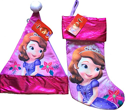 Sofia The First Stocking and Matching Sofia The First Christmas Santa Hat...