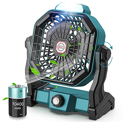 CONBOLA Portable Battery Operated Fan with LED Lantern, 10400mAh Outdoor...