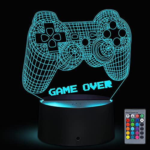 Bparty 3D Video Game Controller Lamp Night Light 3D Illusion Game On lamp...