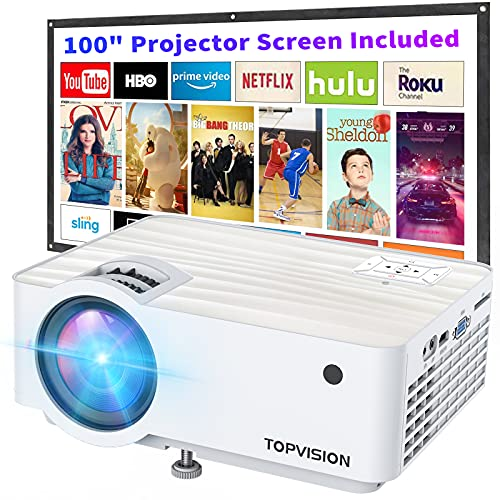 """Video Projector, Top Vision 6500L Portable Mini Projector with 100""""..."""