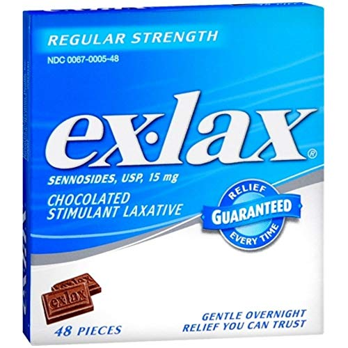 Ex-Lax Regular Strength Stimulant Laxative Chocolated Pieces, 48 count