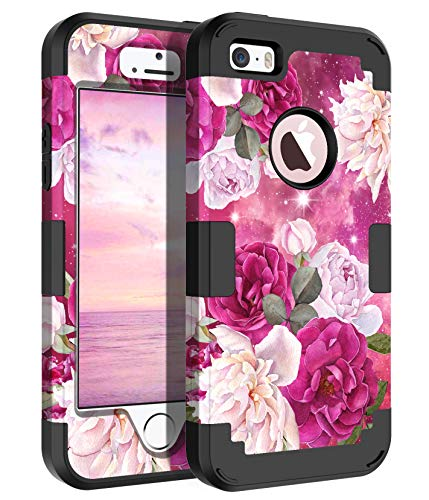 Casetego Compatible with iPhone 5 5S SE Case,Floral Three Layer Heavy Duty...