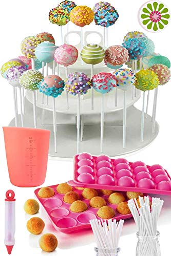 COMPLETE CAKE POP MAKER KIT - Jam packed with silicone cakepop baking mold,...