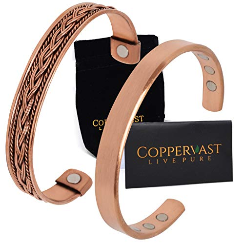 Copper Bracelets for Arthritis - for Men and Women 100% Copper with 6...