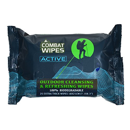 Combat Wipes ACTIVE Outdoor Wet Wipes | Extra Thick, Ultralight,...
