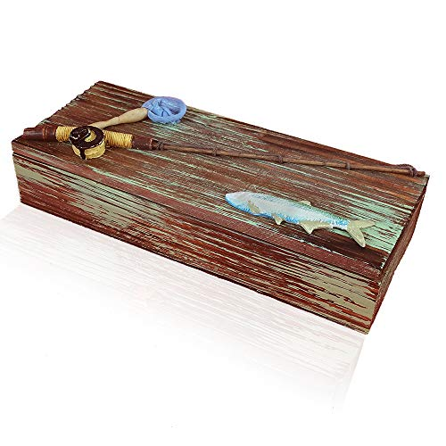 Wooden, Nautical, Fishing Box for Coins, Keys or the Man Cave. Great...