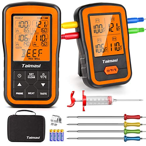 Wireless Digital Meat Thermometer with 4 Probes & Meat Injector, Upgraded...