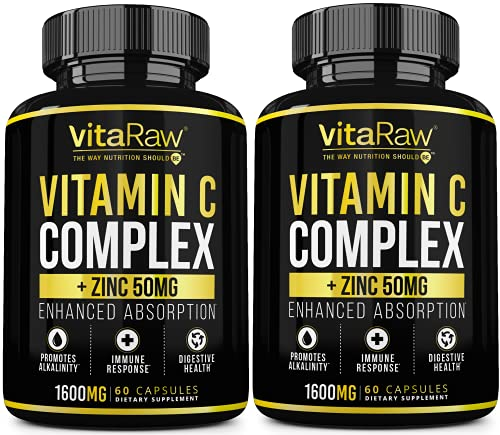 Vitamin C Supplement [2 Pack] 1600mg with Zinc 50mg |Highest Absorption|...