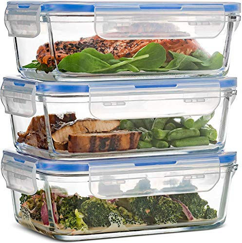 Superior Glass Meal-Prep Containers - 3-pack (28oz) BPA-free Airtight...