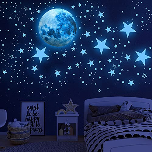 Glow in The Dark Stars for Ceiling,Glow in The Dark Stars and Moon Wall...