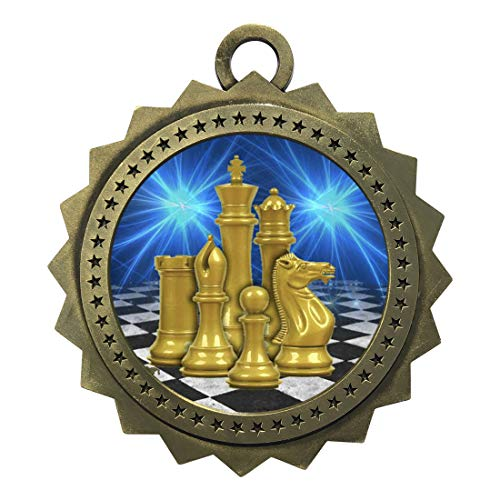 Express Medals Large 3 Inch Chess Gold Medal with Neck Ribbon Award Trophy...