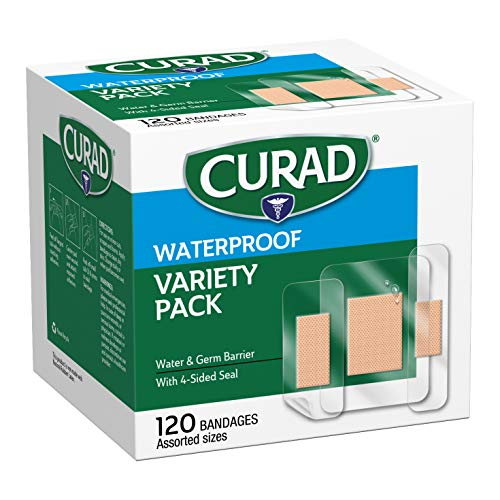 CURAD Waterproof Bandage Variety Pack, 3 Styles Included; Assorted Size,...