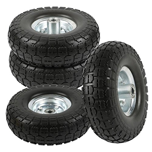 go2buy 4 Pcs 10-Inch Solid Rubber Tyre Wheels for Garden Utility Wagon Cart...