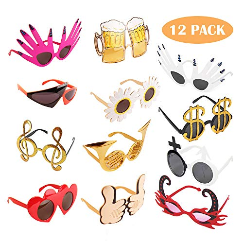 TD.IVES Funny Glasses Party Sunglasses Costume Sunglasses Masks,12 Pack...
