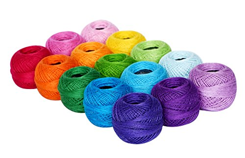 Soft 1500Y 15 Pearl Balls Cardinal Size 8 Rainbow Colors for Crochet...