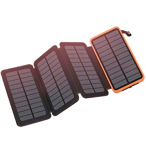 Solar Charger 25000mAh, FEELLE Portable Solar Power Bank with 4 Foldable...