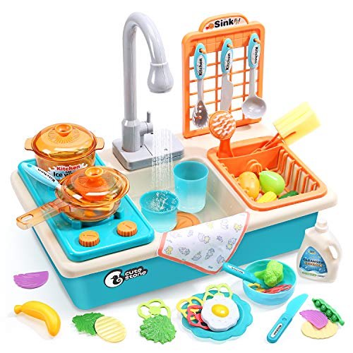 CUTE STONE Play Kitchen Sink Toys with Upgraded Real Faucet, Play Cooking...