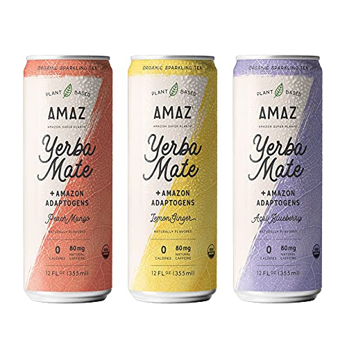 AMAZ Organic Sparkling Yerba Mate Tea with Adaptogens for Natural Energy,...