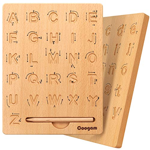 Coogam Wooden Letters Practicing Board, Double-Sided Alphabet Tracing Tool...