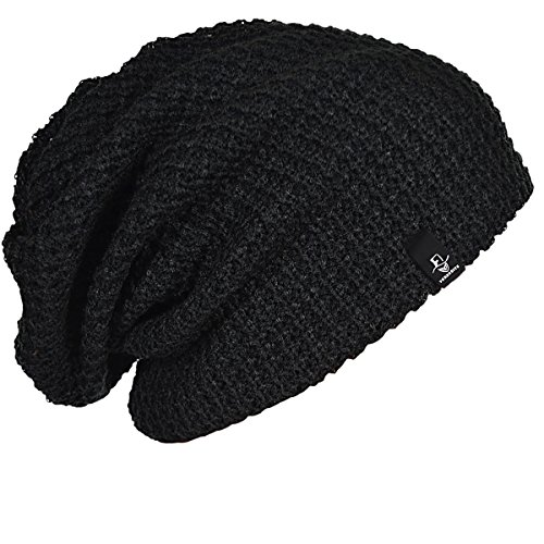FORBUSITE Mens Slouchy Long Oversized Beanie Hat Black Knit Cap for Summer...