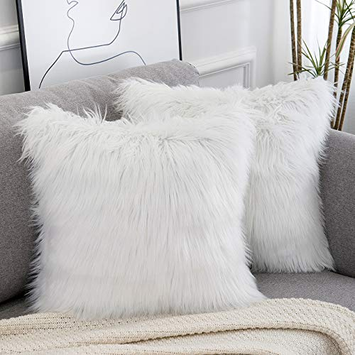 WLNUI Set of 2 Decorative White Fluffy Pillow Covers New Luxury Series...