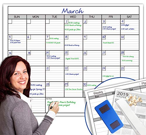 Dry Erase Monthly Large White Board Wall Calendar, 38' x 50', Jumbo...