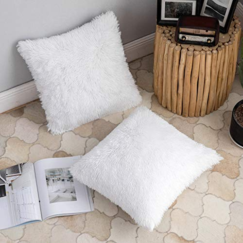ANRODUO Pack of 2 Luxury Faux Fur Series Throw Pillow Covers Decorative...