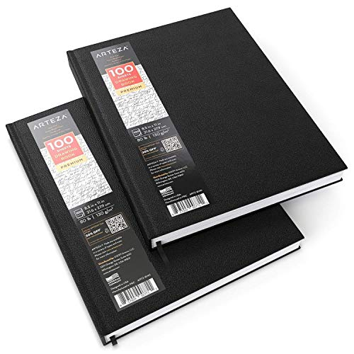 Arteza Hardcover Sketchbooks, Pack of 2, 8.5 x 11 Inches, 100-Sheet Drawing...