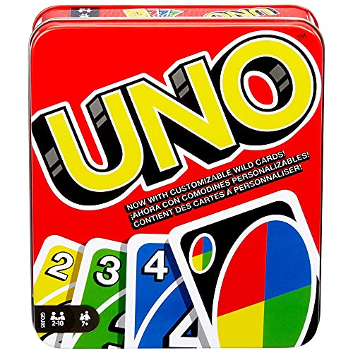 UNO Family Card Game, with 112 Cards in a Sturdy Storage Tin,...
