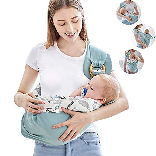 ZYEZI Ring Sling Baby Carrier, 100% Cotton Breathable Stretchy with Pocket...