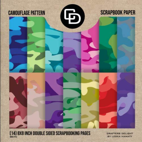 Camouflage Pattern Scrapbook Paper (14) 8x8 Inch Double Sided Scrapbooking...