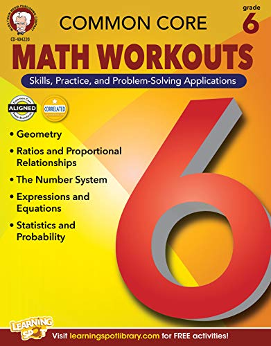 Mark Twain Common Core Math Workouts Resource Book, Grade 6, Ages 11 - 12,...