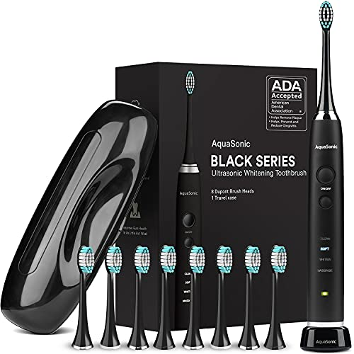 AquaSonic Black Series Ultra Whitening Toothbrush – ADA Accepted Electric...