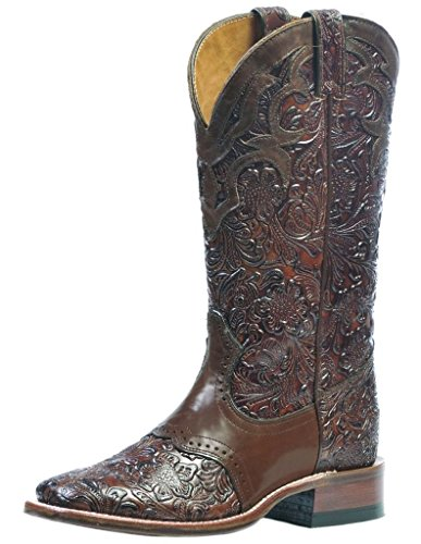 Boulet Women's Hand Tooled Ranger Cowgirl Boot Square Toe Chestnut 10 W US
