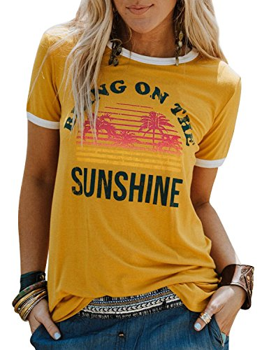 Nlife Bring On The Sunshine Graphic Long Sleeves Tees Blouses for Women...