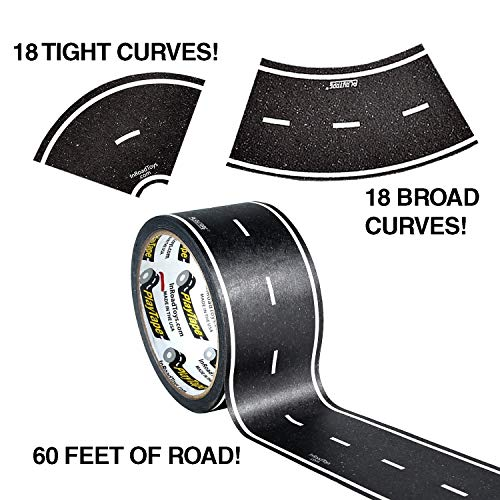 PlayTape 60' x 2' Black Road Starter Pack - Includes 2' Street Curves -...