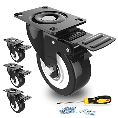2' Swivel Caster Wheels with Safety Dual Locking and Polyurethane Foam No...