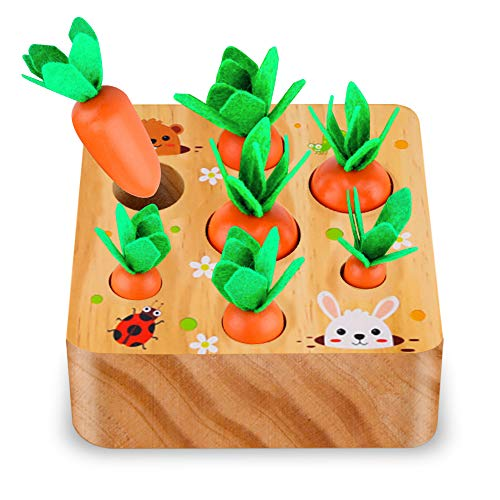 SKYFIELD Carrot Harvest Game Wooden Toy for Boys and Girls 1 2 3 Year Old....