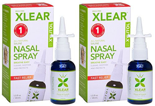 XLEAR Nasal Spray (Pack of 2) with Xylitol, Saline, Purified Water and...