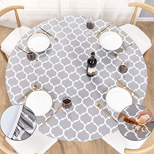 UMINEUX Round Fitted Vinyl Tablecloth with Elastic Edged & Flannel Backing,...