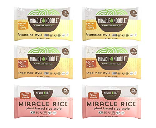 Miracle Noodle Pasta & Rice Variety Pack - Fettuccine & Angel Hair Plant...