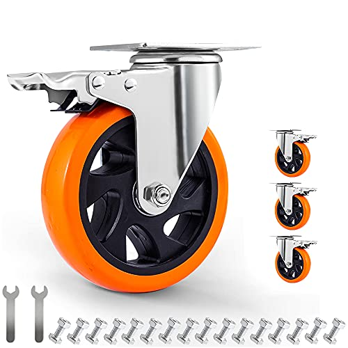 5' Swivel Casters Wheels with Screw Safety Dual Locking and Polyurethane...